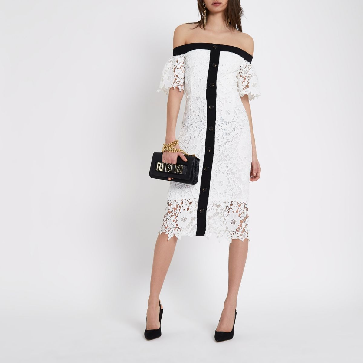 White bardot lace midi dress