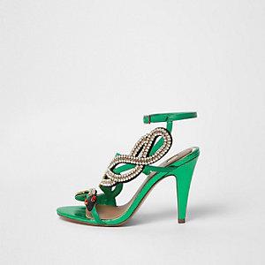 Groene sandalen met slang, diamantjes en bandjes