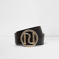 Black croc embossed RI branded buckle belt