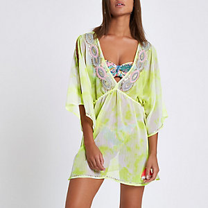 Yellow chiffon embellished beach kaftan