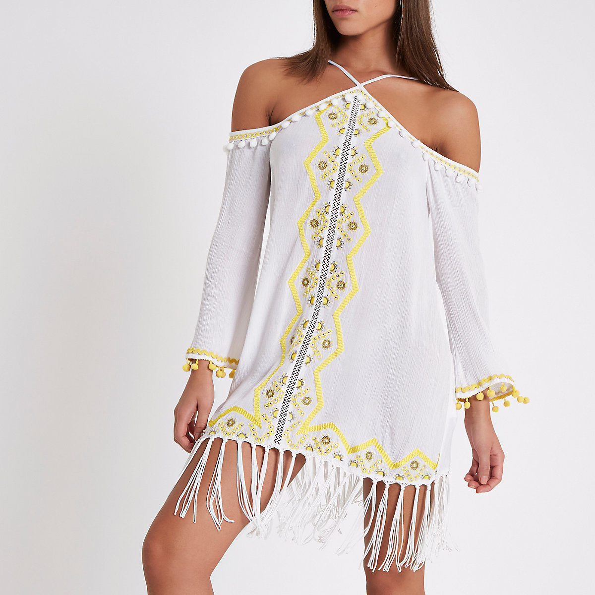 White pom pom cold shoulder beach dress