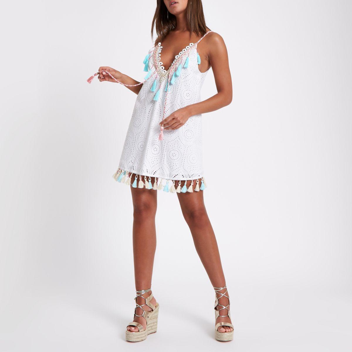 White broderie mini beach dress