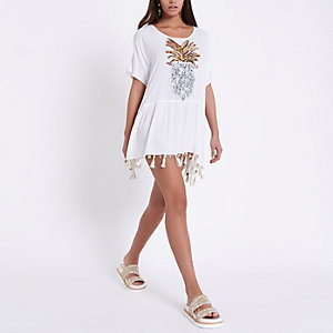 Cream embellished pineapple beach cover up