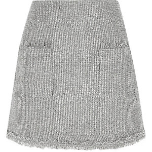 Grey pocket front boucle glitter mini skirt