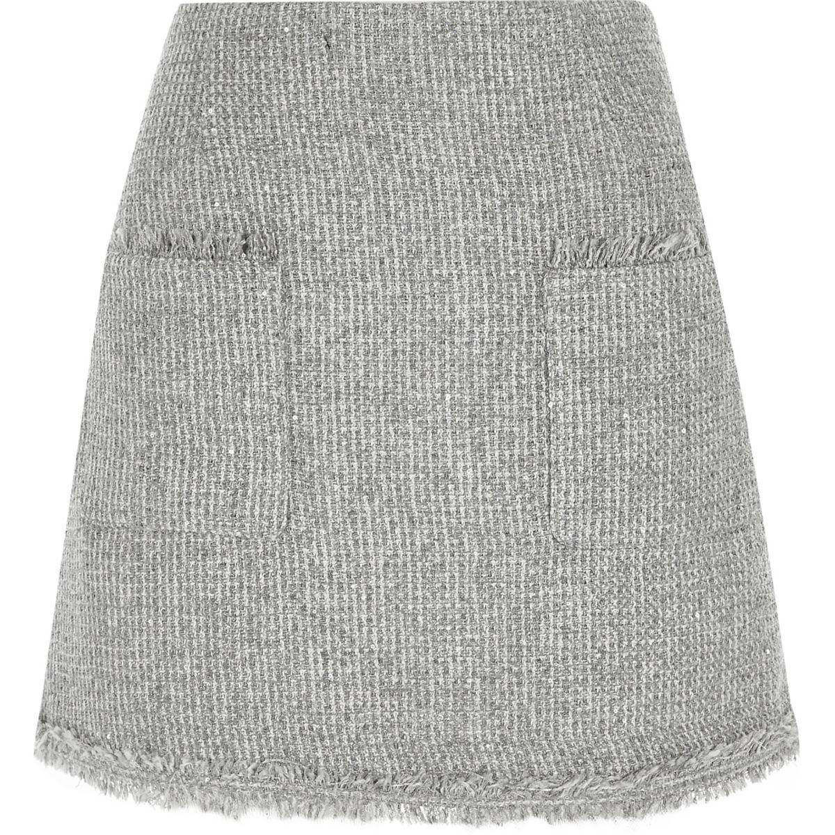 Grey pocket front boucle glitter mini skirt