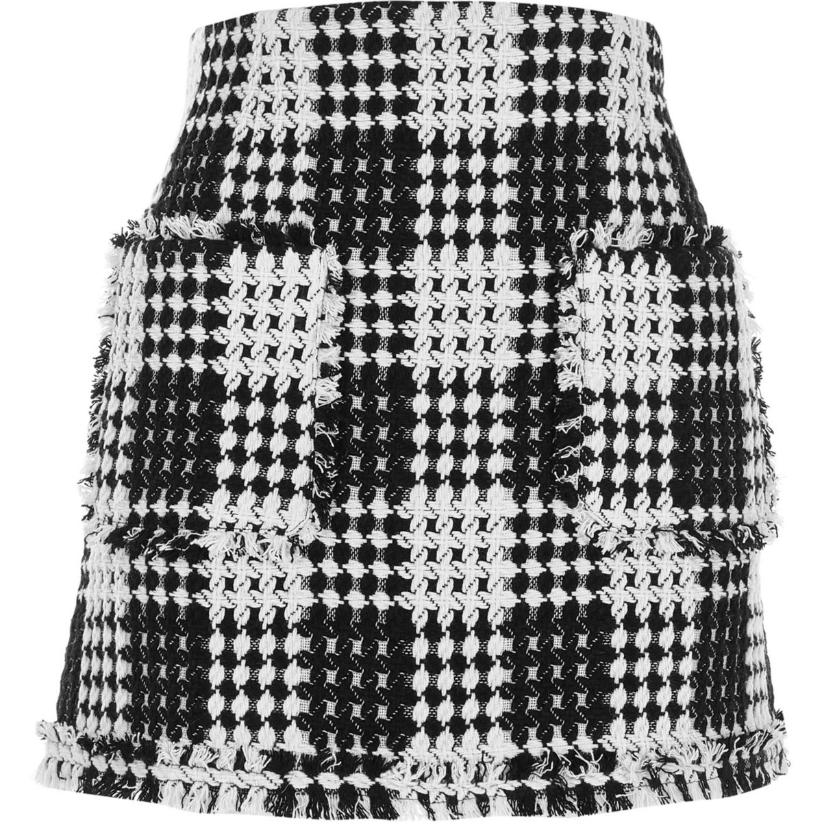 Black and white woven knit mini skirt