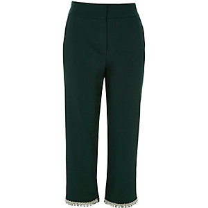 Dark green embellished hem cigarette pants