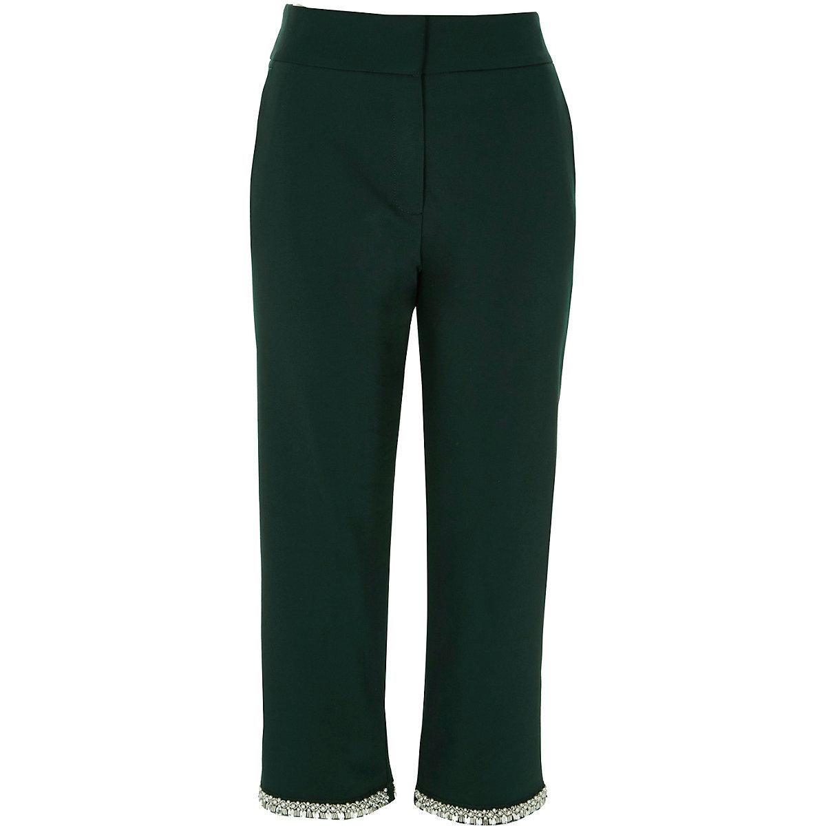 Dark green embellished hem cigarette trousers