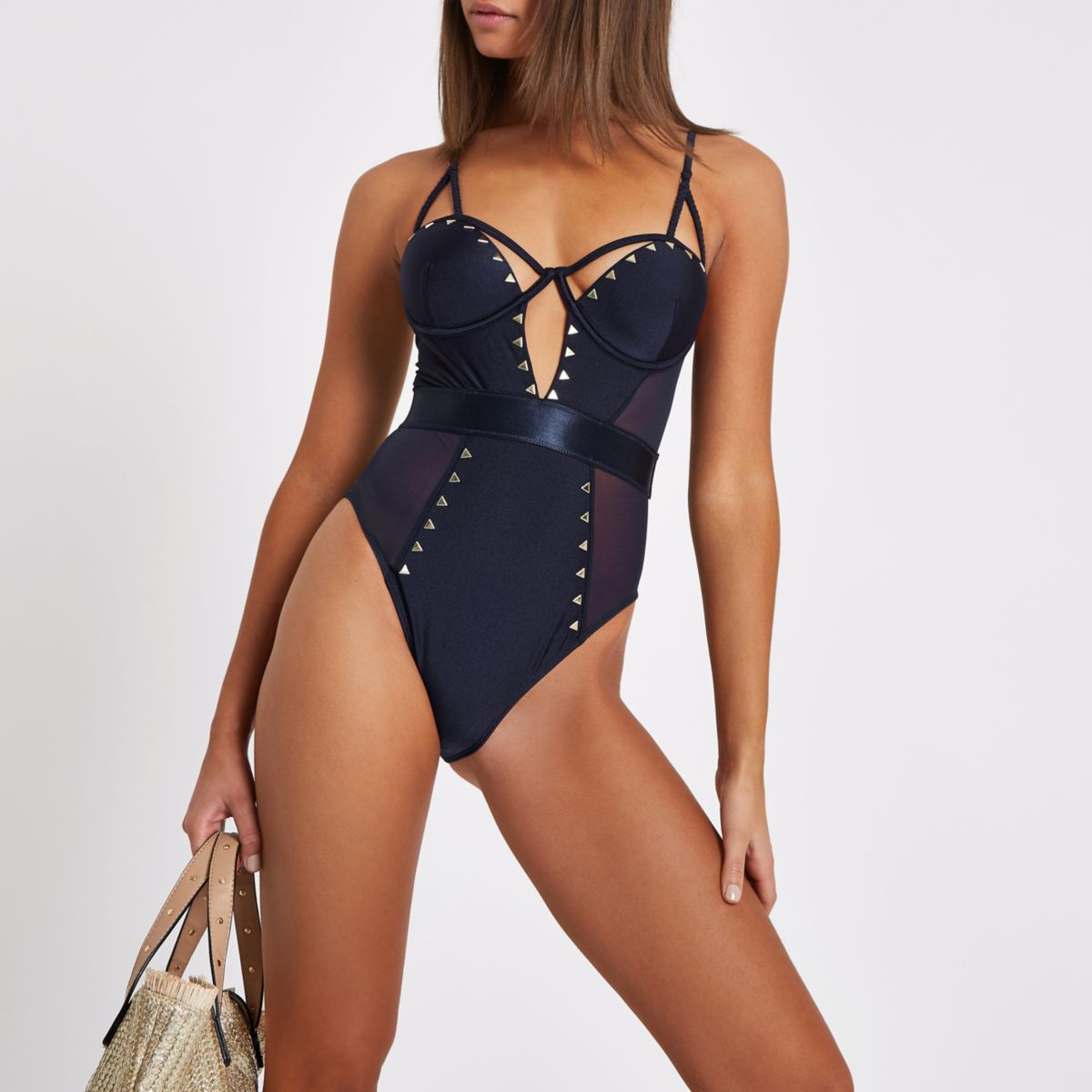 Navy balconette heatseal studded swimsuit