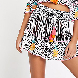 Black animal print pineapple trim beach skirt