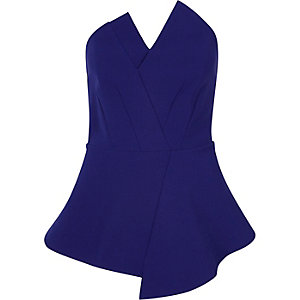 Blue bandeau peplum top