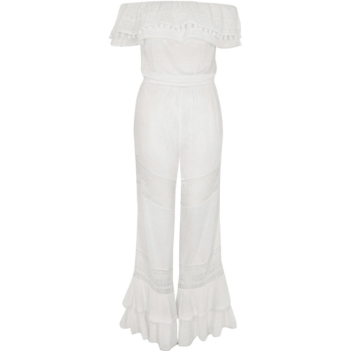 92217f544f6 White jersey bardot frill jumpsuit - Kaftans   Beach Cover-Ups ...
