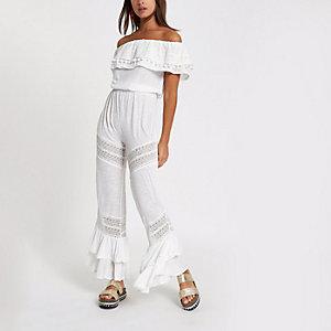 Combinaison Bardot en jersey blanche à volants