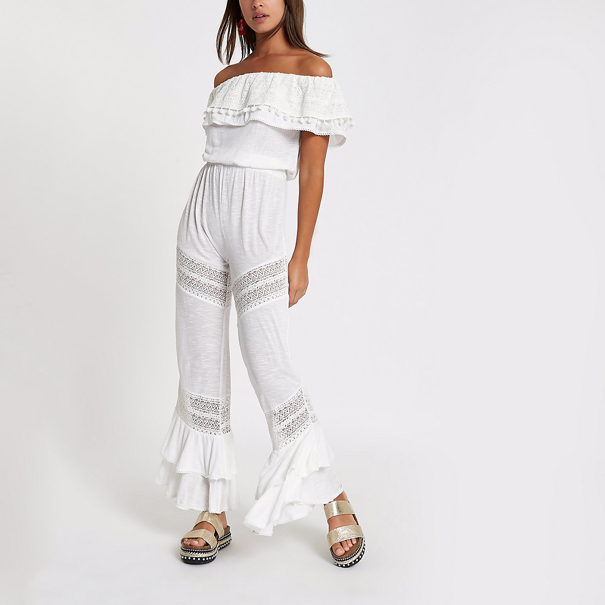 White jersey bardot frill jumpsuit