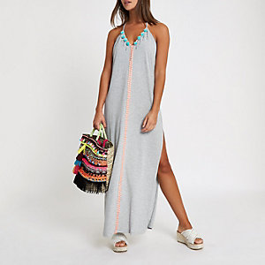Grey pom pom trim  maxi beach dress