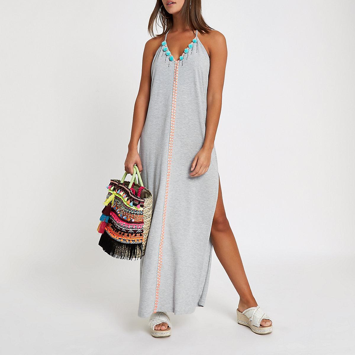 Grey pom pom trim  maxi beach dress