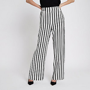 White stripe wide leg trousers