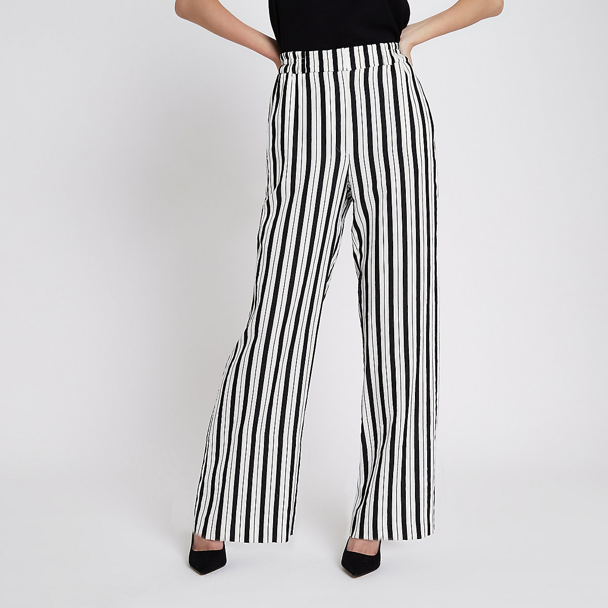 White stripe wide leg pants