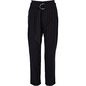 Navy stripe tapered D-ring belt trousers