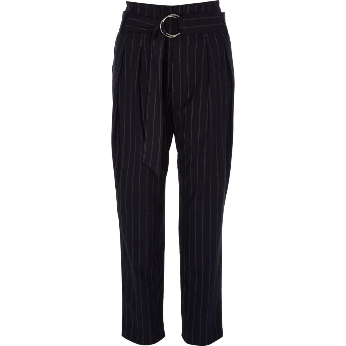 Navy stripe tapered D-ring belt pants