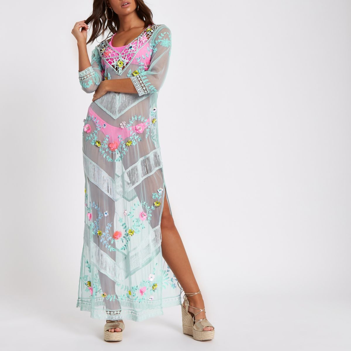 Blue embroidered lace maxi beach cover up