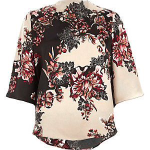 Black floral print high neck cape sleeve top