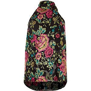 Top noir à fleurs brodées et dos à lanières