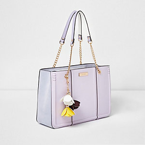 Lilac purple flower charm chain tote bag