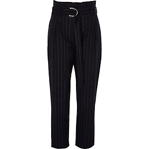 Navy stripe D-ring paperbag tapered pants
