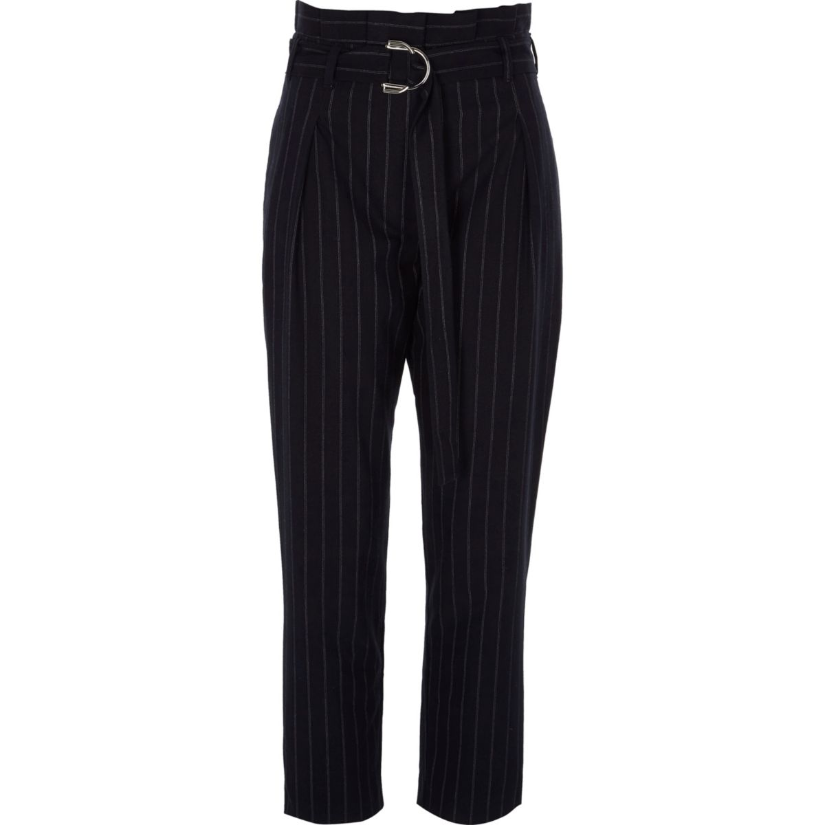 Navy stripe D-ring paperbag tapered trousers