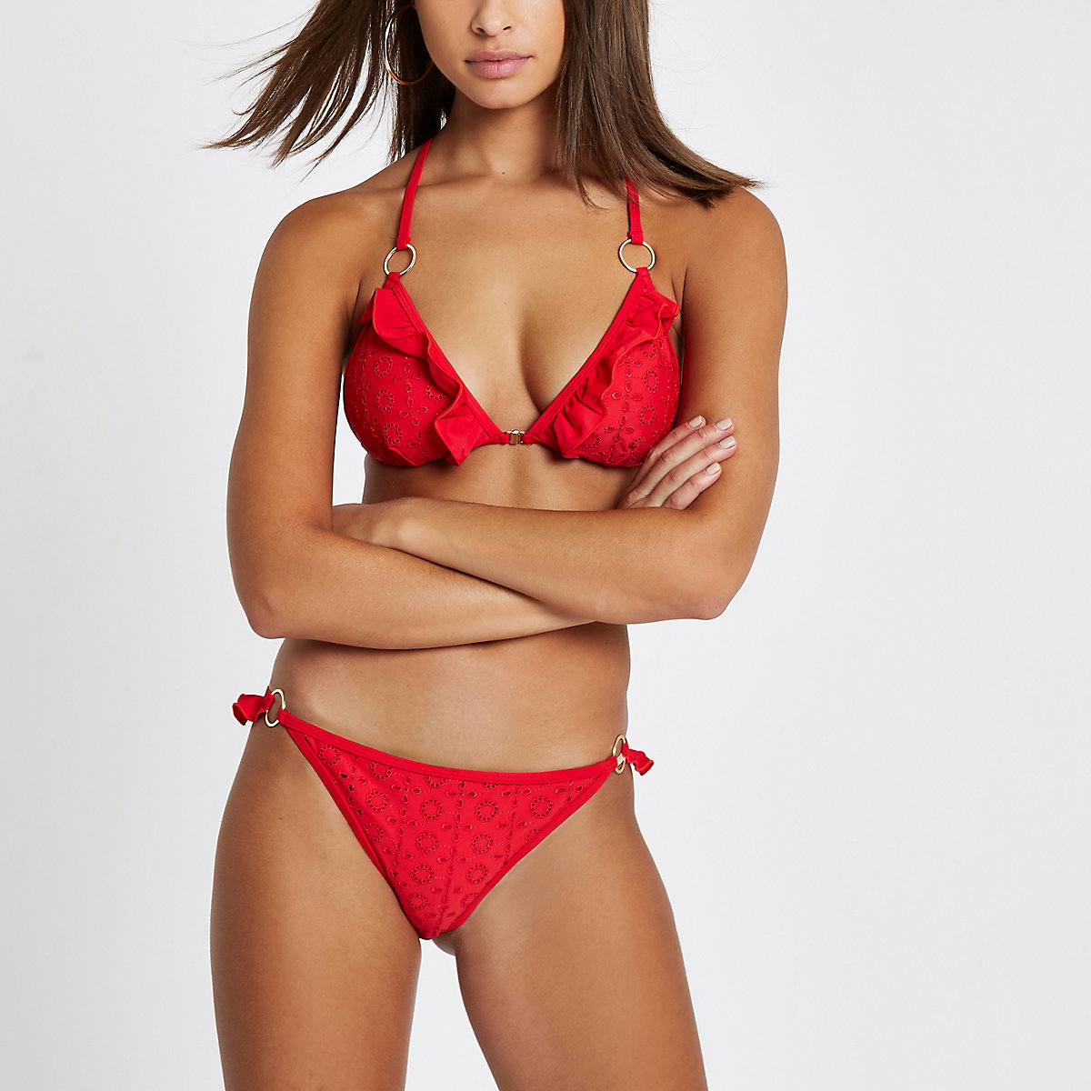 Red broderie frill low rise bikini bottoms