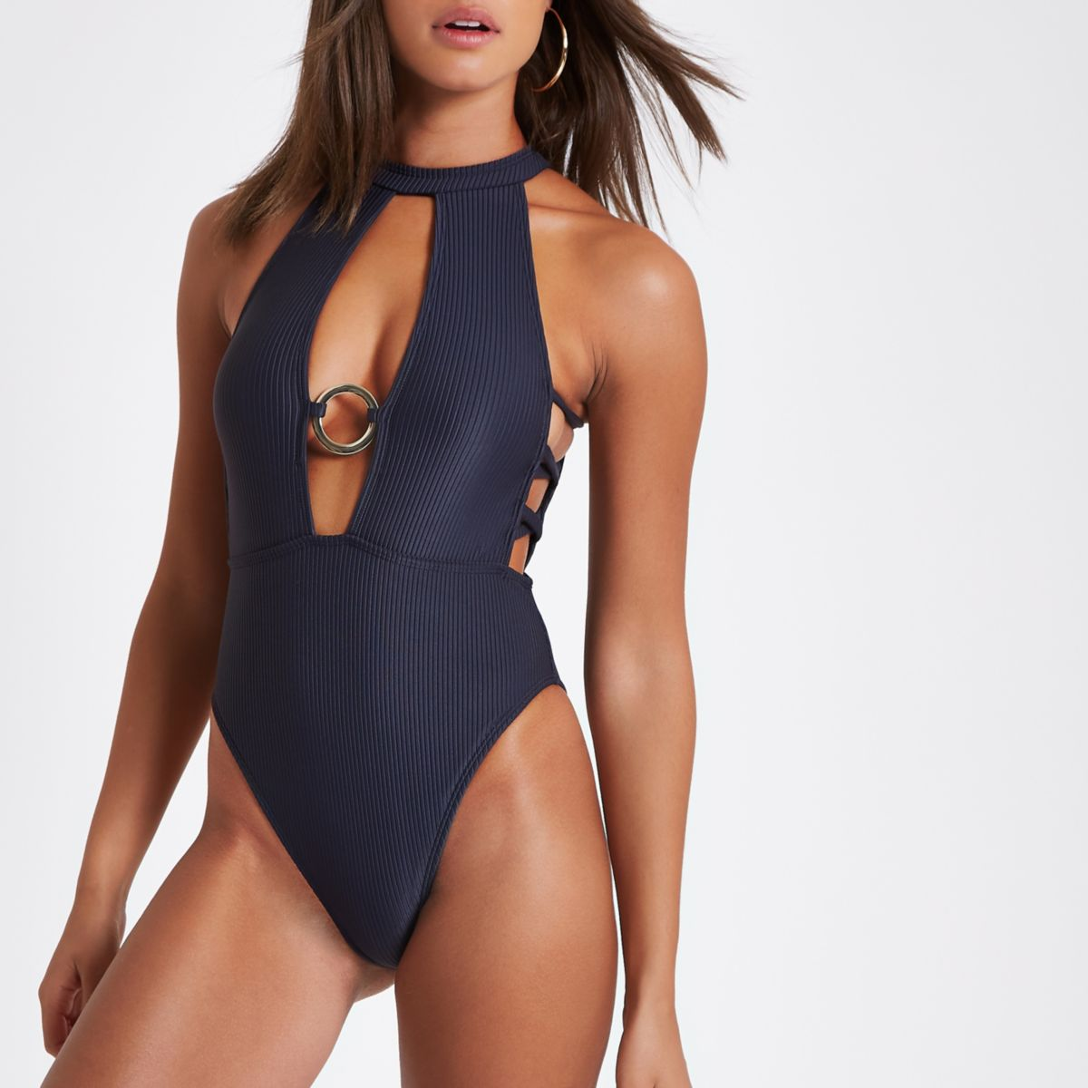Grey high neck ring cut out swimsuit