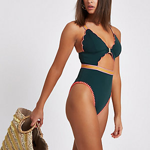 Green scallop cut out swimsuit