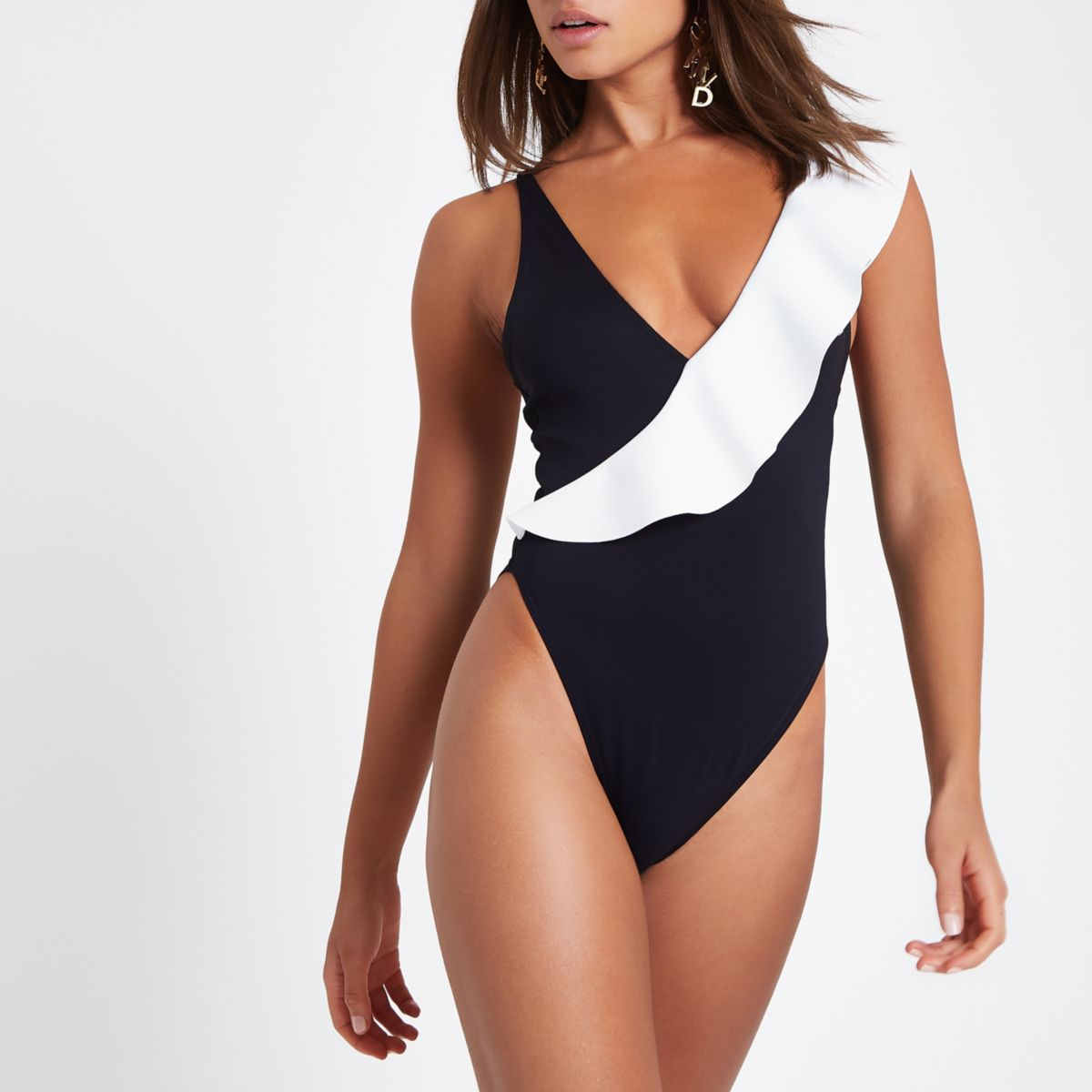 Black asymmetric contrast frill swimsuit