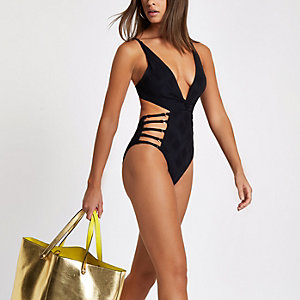 Black knot front strappy plunge swimsuit