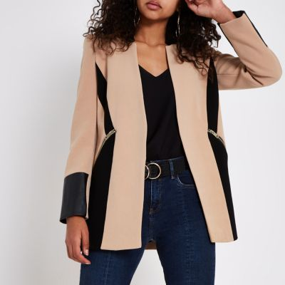 Camel Faux Leather Colour Block Blazer Coats Amp Jackets