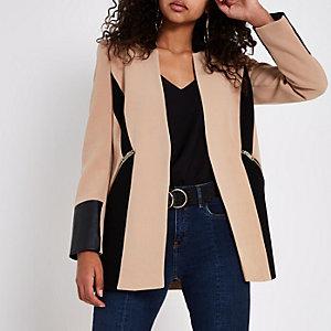 Camel faux leather colour block blazer
