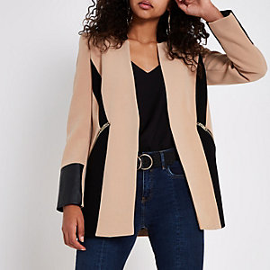 Camel faux leather color block blazer