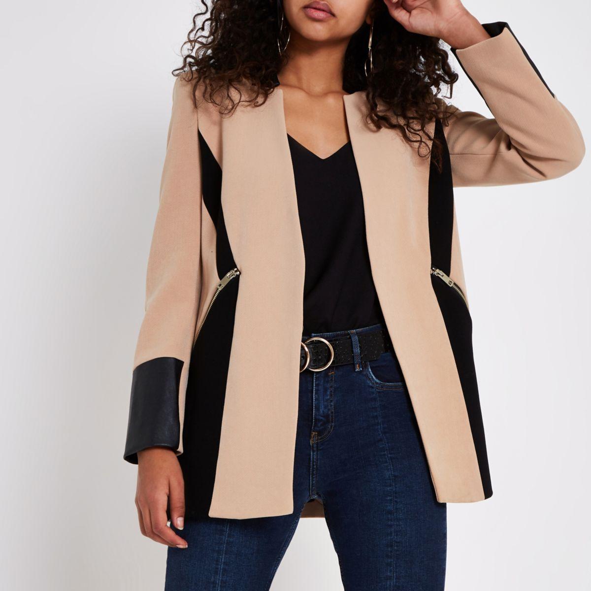 Camel faux leather color block blazer