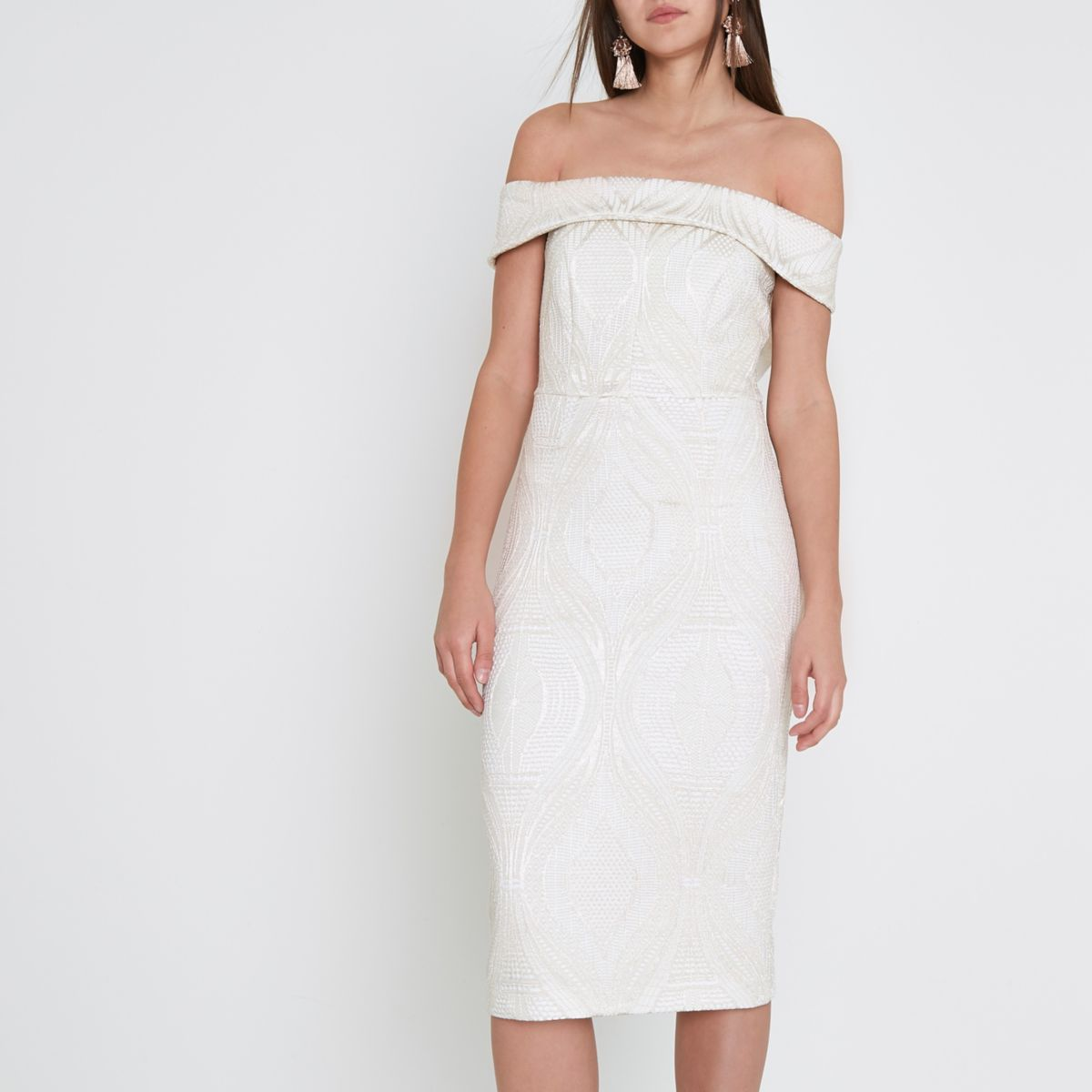 Cream lace bardot bodycon midi dress