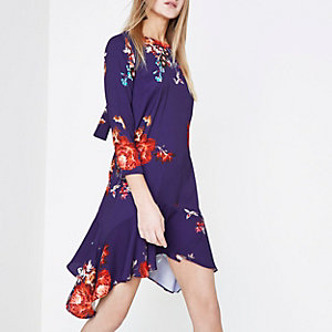 Purple floral print frill hem swing dress