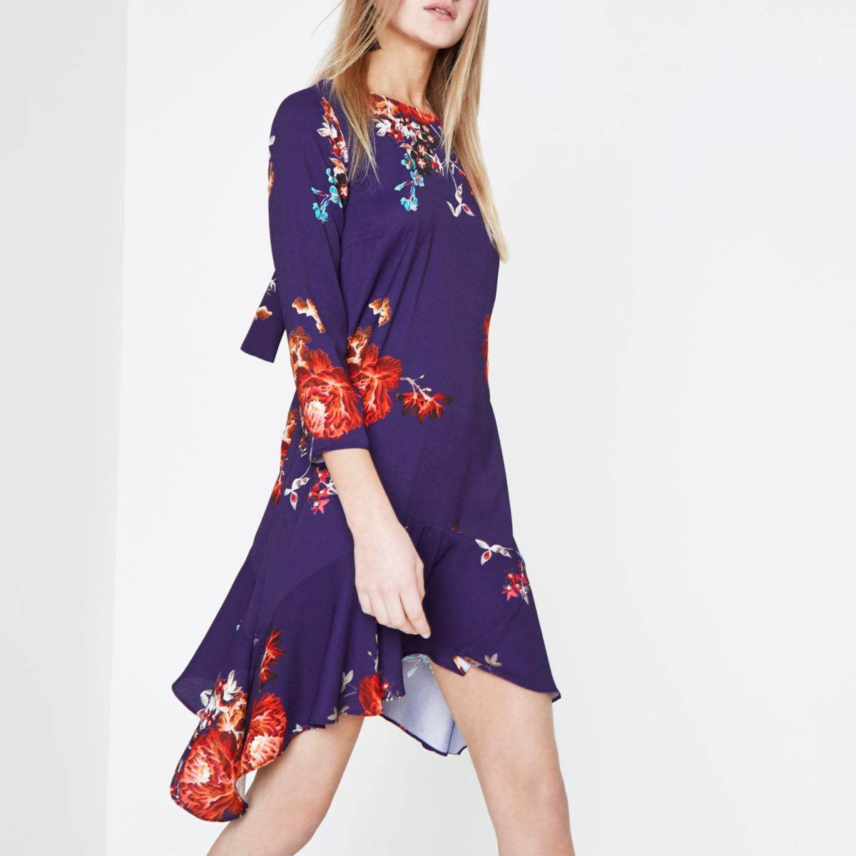 Purple floral print frill hem swing dress