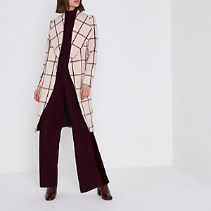Blush pink check tie waist robe coat