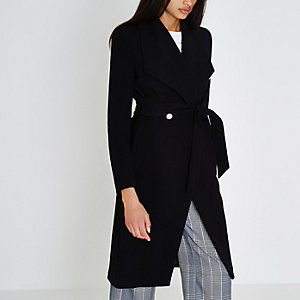 Black belted gold tone button robe coat