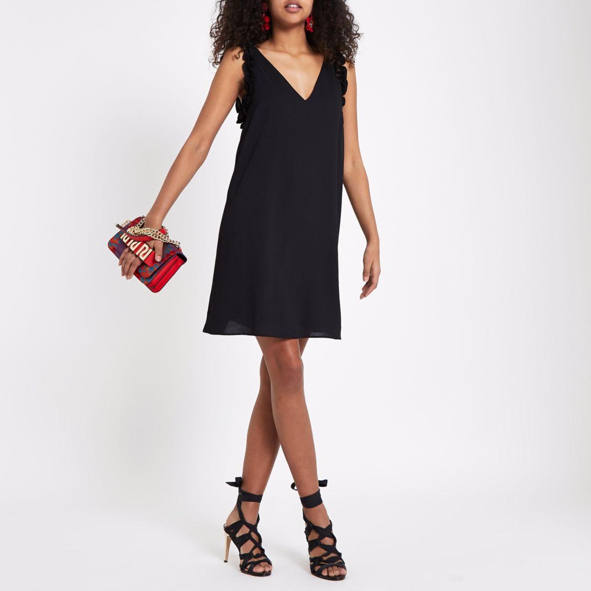 Black ruffle V neck slip dress