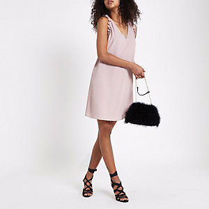 Nude pink frill sleeveless slip dress