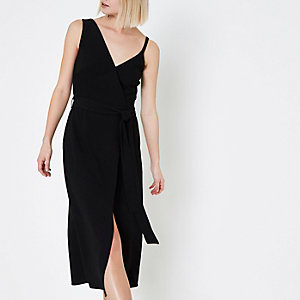 Black wrap front tie waist cami midi dress