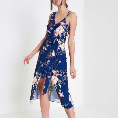 River Island Robe caraco mi-longue croisée à fleurs bleue