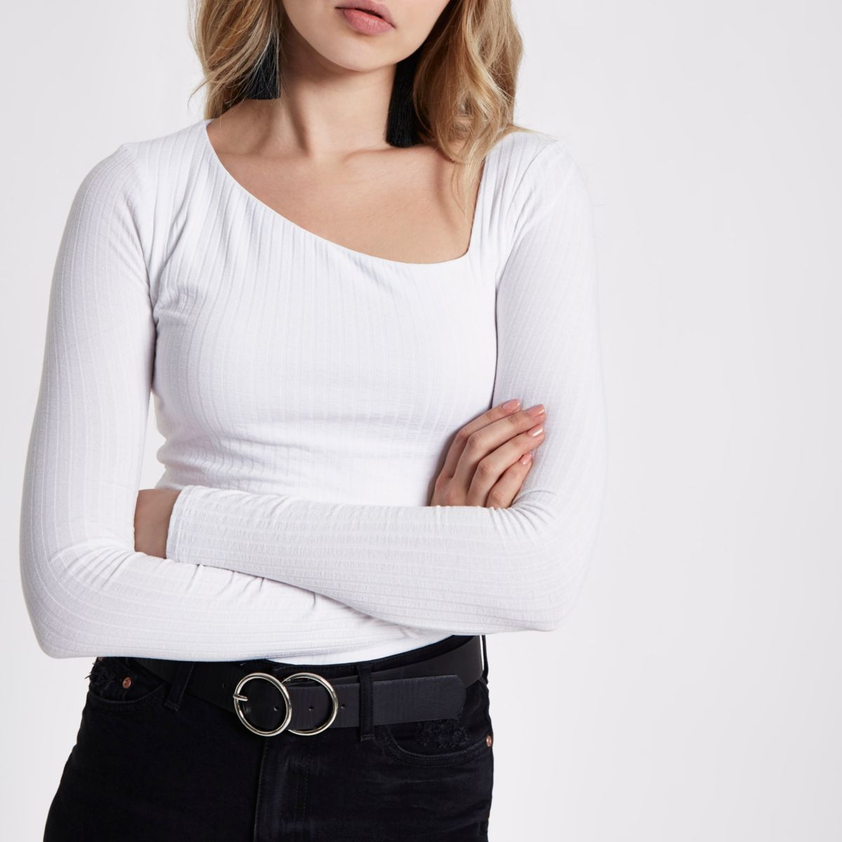 White ribbed asymmetric neck long sleeve top