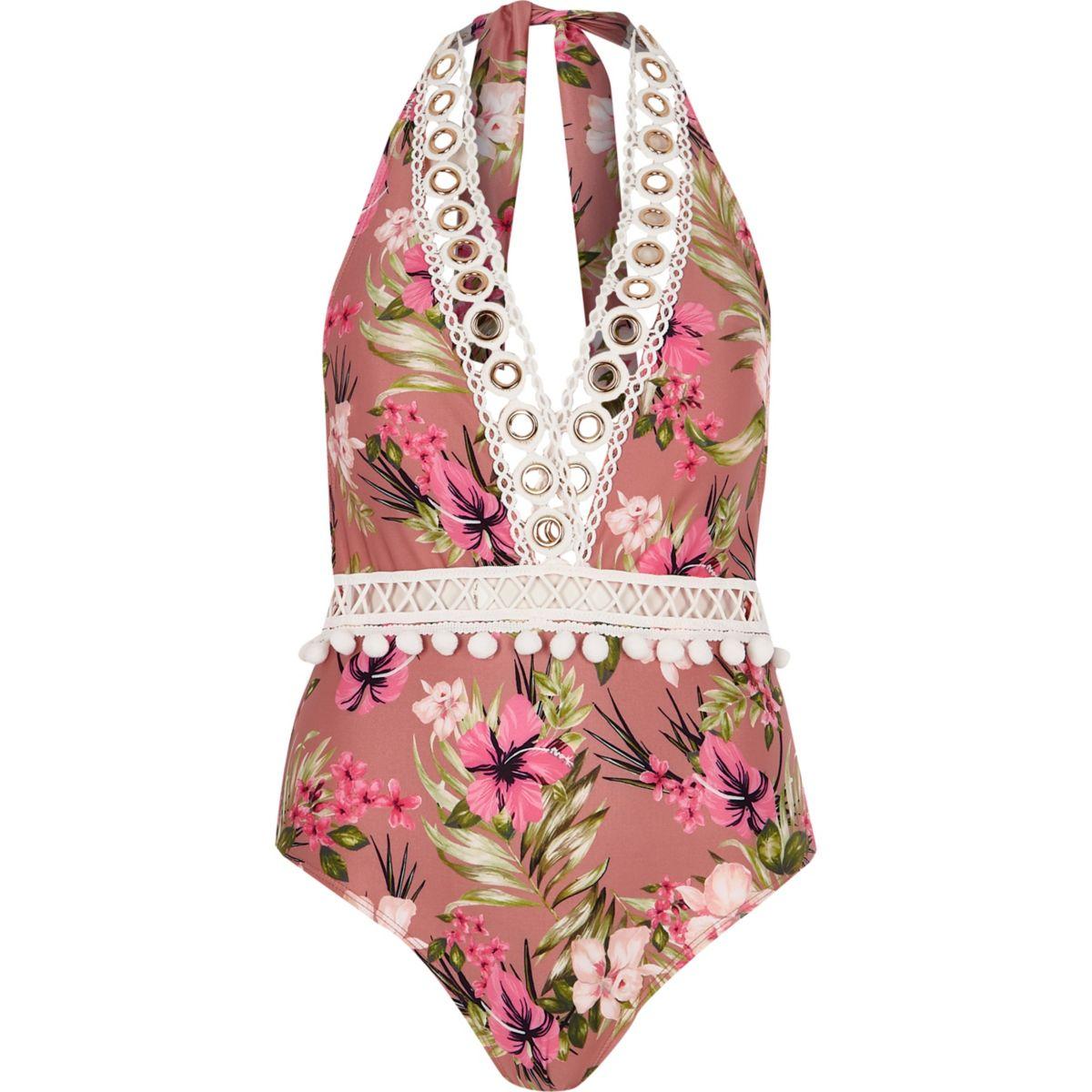 Brown floral halterneck plunge swimsuit